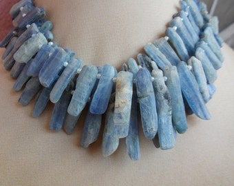 "1. Strand 8"" Blue Kyanite Rough Stick Beads 27X6 To 10X5 MM Approx Finest Quality 100% Natural Wholesale Price"