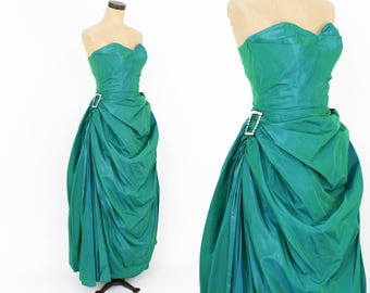 50s Green Evening Gown | Emerald Green Sweetheart Strapless Formal | Fred Perlberg | Extra Small