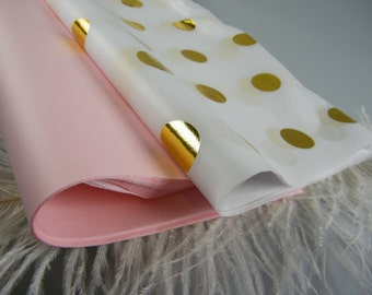 Pink and Gold Baby Shower First Birthday Party Gift Wrap Tissue Paper Pink & Gold Polka Dot Tissue Sheets /DIY Flower Pom Pom Craft Supplies