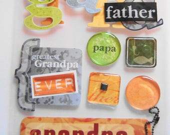 GRANDPA, FATHER, FISHING, Soft Spoken, Dimensional Stickers, Scrapbooking, Cards, Crafts, Collage, Stationary, Arts and Crafts (SP23)