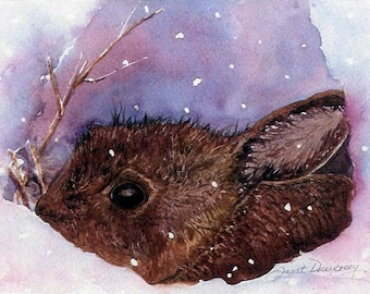 "Watercolor Bunny, Giclee Art Print of Brown Rabbit in Snow, Nature Art Print, Archival Ink, 6.5""x 8"".5""  by Janet Dosenberry"