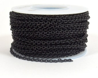Oval Cable Chain - Midnight Black - 2.2mm x 2.8mm Links - CH156 - Choose Your Length