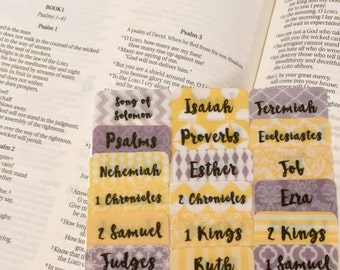 """CATHOLIC Yellow and Grey """"Ezra"""" Multi-Hued Books of Bible Tabs by Victoria Anderson"""