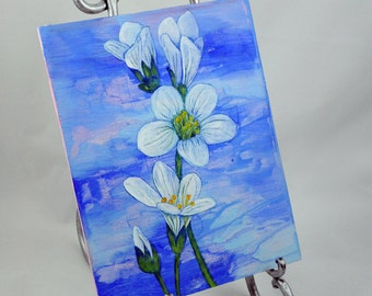 Wildflower Wall Plaque Botanical Art - Nature Mixed Media Art - Blue Floral Decor Design Small Artwork Office Decoration Painted Wood Panel
