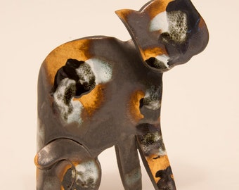 Ceramic Sitting Cat Sculpture - Hand built