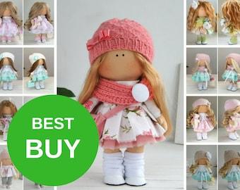 Handmade Doll Baby Toy Tilda Doll Interior Doll Art Doll Blonde Doll Pink Doll Soft Doll Cloth Doll Fabric Doll Rag Doll Bambole by Maria L