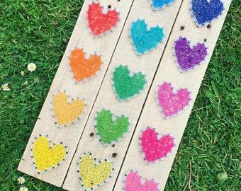 15 Hearts String Art, Rainbow, Handmade, personalised.