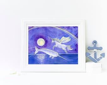 Unicorn and Narwhal art print - Purple and Blue Children's Room Decor