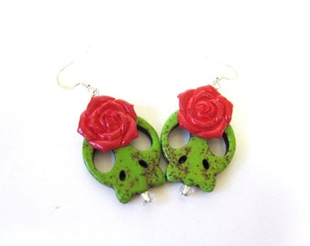 Sugar Skull Earrings Day Of The Dead Jewelry Green Red