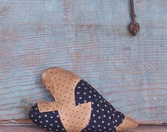 Antique Quilt Heart, Blue & White Star Fabric, Primitive Country Decor, Patriotic Decor, 4th of July Decor, Zakka Americana - READY TO SHIP