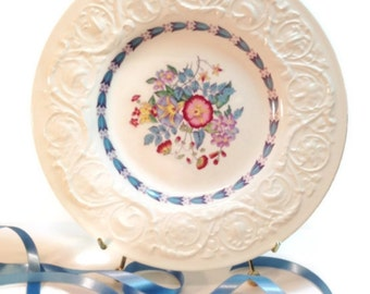 Vintage Wedgwood Morning Glory -Blue Trim Dinner Plate, Shabby home Decor, Downton Abbey Decor