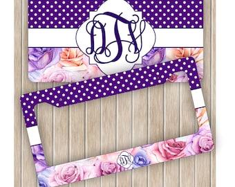 Monogram License Plate Set ~ Purple Roses License Plate Frame ~ Personalized License Plate Frame Set ~ Floral License Plate ~ Roses Car Tag