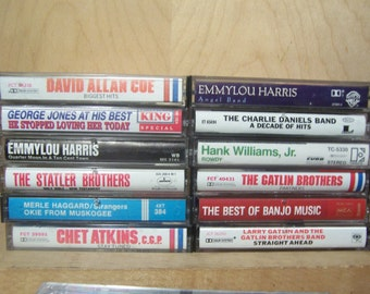 Vintage COUNTRY Cassette Tapes from 1960s - 1990s  50+ offerings