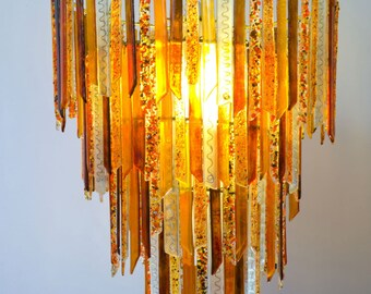 recycled lighting. Flame 4-Tier Chandelier Handmade Recycled Glass Lighting