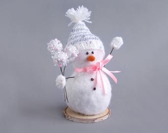 Snowman decor with hat, bow, mittens. White snowy winter rustic Christmas Indoor Decoration. White, pink and silver tones. Cute gift 18cm/7""