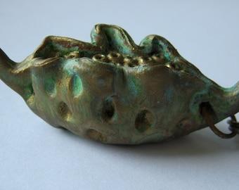 Seed Pod Necklace, Clay Pod Pendant, Polymer Clay, Gold Toho Beads, Organic Pod, Aged Patina On Clay