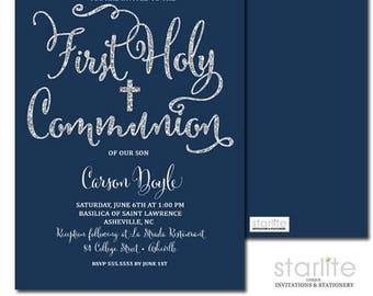 First Communion Invitation Boy, Navy Blue and Silver Glitter 1st Communion Invitation, Boy First Communion Invitation, Printed, Printable