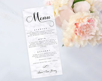 Marble Menu Card, Printable Digital Menu, Wedding Menu, Bridal Shower Menu, Print at Home