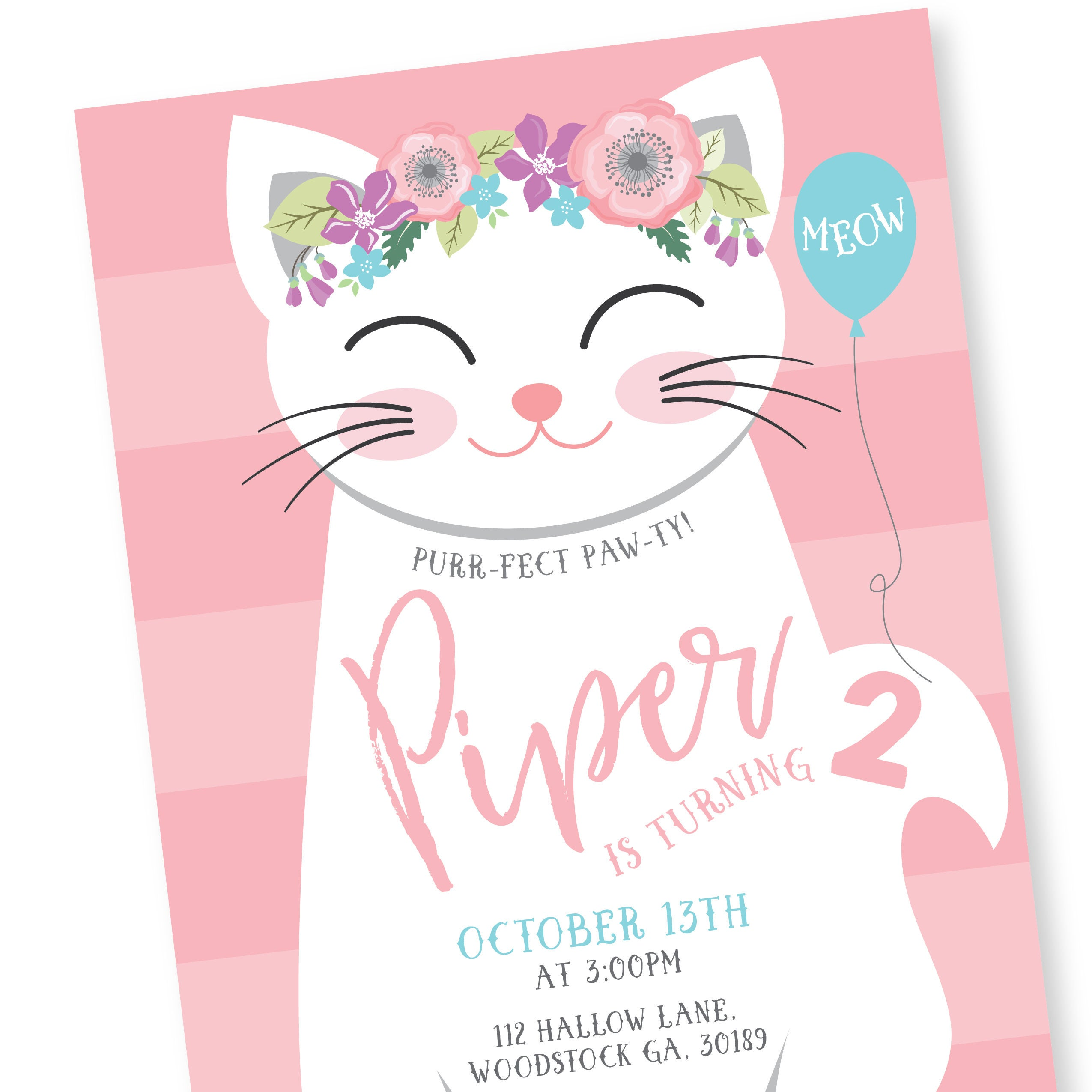 Cat birthday party invitation kitten cat birthday girl printable gallery photo gallery photo gallery photo gallery photo filmwisefo
