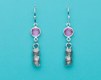 Peanut Earrings, Pink Crystal Earrings, Circus Earrings, Food Charms, Dangle Earrings, Gifts for Her, 595