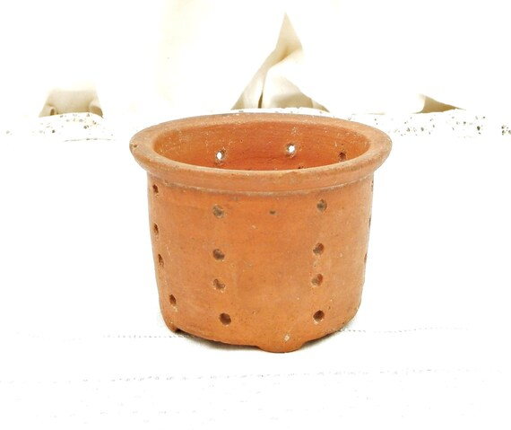Rustic Antique French Terracotta Cheese Faisselle Strainer Pot, Primitive Pottery Dairy Cream Drainer France, Retro Ceramic Kitchen Mold