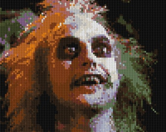 Beetlejuice counted Cross Stitch Pattern Michael Keaton detailed portrait