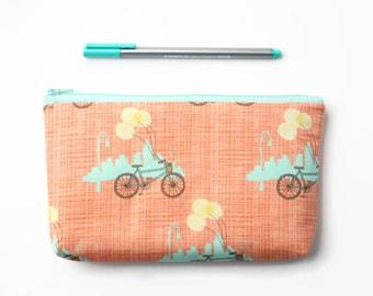 Padded Fabric Pencil Case, Bike Zipper Pouch, Makeup Bag, Storage Bag, Orange and Aqua Cyclist Gift