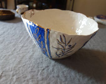 Imperfect Huge Serving Bowl with Olive Branch Motif in Blue and Gold