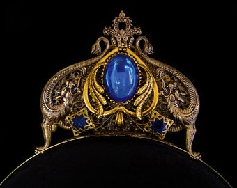 Dragon Tiara - Medieval Fantasy - Diadem - Game of Thrones - Mythical - Dark Blue - Bronze - Gold - Daenerys Targaryen - Headdress