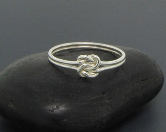 Sterling Silver Double Love Knot Ring - Infinity Ring - Eternity Ring - Celtic Knot Ring - Minimalist Ring - Promise Ring for Her