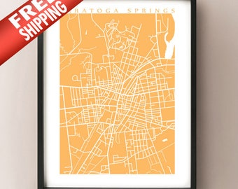 Saratoga Springs, NY Vertical Map Print - Upstate New York