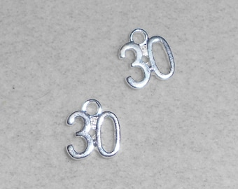"""Silver Number """"30""""  Charms"""