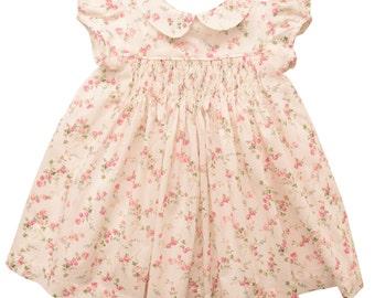 Liberty Print Hand Smocked Baby Dress