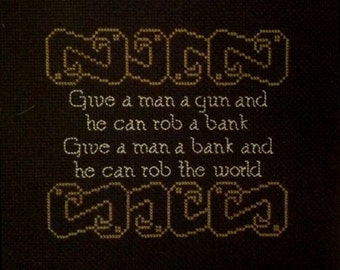 Give a Man a Gun... Cross-Stitch Pattern