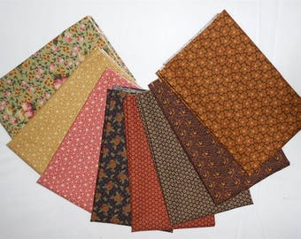 Thimbleberry/Thimbleberries Fat Quarter Bundle 8pc. Circle of Love fabrics/country/rustic/green/red/purple/cream/rust/floral (#o255)