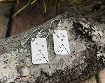 Mountain, Birds and Sun Earrings, Sterling Silver, Hand Stamped, Mountain, Sun and Birds Flying Earrings