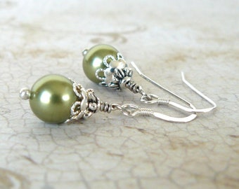 Light Green Earrings, Pale Green Pearl Dangles, Bridesmaid Earrings, Vintage Style Wedding Jewelry, Swarovski Elements Crystal Pearl