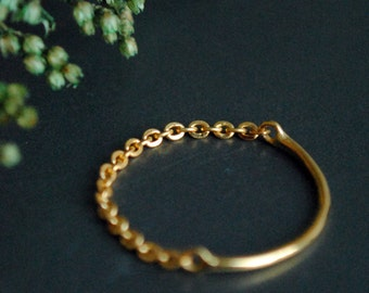 Gold Chain Ring. 18K Solid Gold Chain & Band Ring. Simple Skinny Gold Stacking Ring. Midi Knuckle Cable Chain Ring. Dainty Wedding Band