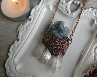 Aura Chalcedony Necklace with Angel Aura Quartz