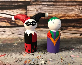 Wooden Peg People Inspired by Harley Quinn and The Joker