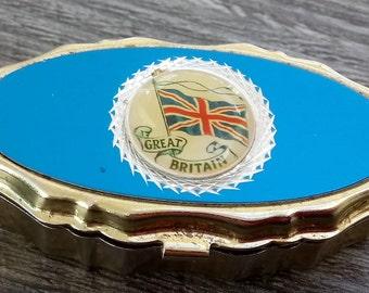 Portable Ashtray Great Britain Vintage Pillbox Style Handbag Pocket Size Ashtray Collectable Tin