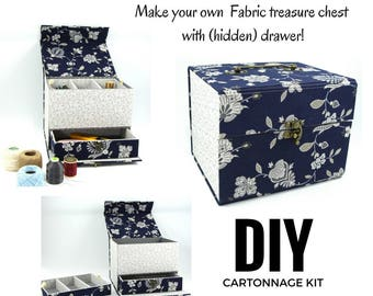 Fabric treasure chest with hidden drawer DIY kit, cartonnage fabric box kit, fabric covered diy box (DIY kit 155), exclusive book kit