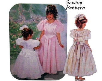 """McCall's 6439 Girl's Special Moments Formal, Flower Girl Dress Sewing Pattern Size 4-6 Breast 23-25"""" /58- 64cm Vintage 1990's UNCUT"""