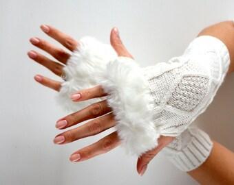 Knit Fingerless gloves, faux fur fingerless gloves, arm warmer, white fingerless gloves