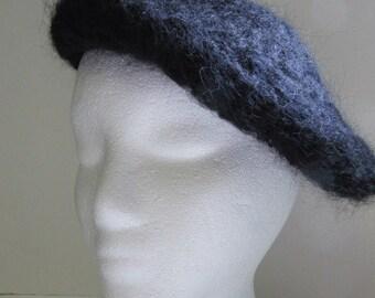Black Wool Beret Black Mohair Hat Woolen Cap Crochet knit Mod Goth Fashion Boho Gothic Womans Mans, French Beret, SALE