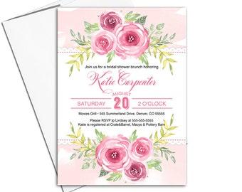 floral bridal shower invitations printed or printable | watercolor bridal shower brunch invitation | pink bridal shower invites - WLP00618