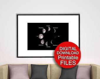 Printable Moon Phases Wall Art, Lunar Eclipse, 5x7 8x10 11x14 16x20 24x36 A3 A4