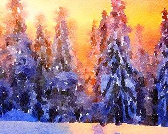 Winter Trees Original Unique Brush Painting Mixed Media Painting 108
