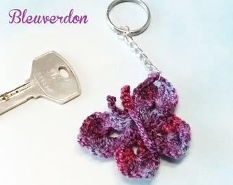 Hand crocheted Purple Butterfly keychain