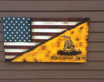 Wooden Amercian and Gadsden Flag